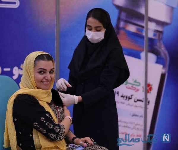 الهام پاوه نژاد در حال تزریق واکسن ایرانی