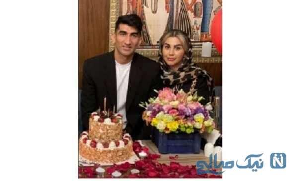 علیرضا بیرانوند در کنار همسرش