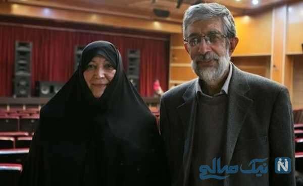 غلامعلی حداد عادل و همسرش