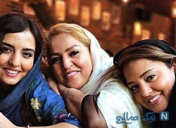 عکس خانوادگی نرگس محمدی با مادر و خواهرش