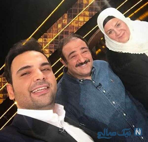 سلفی مهران غفوریان با مادرش و احسان علیخانی