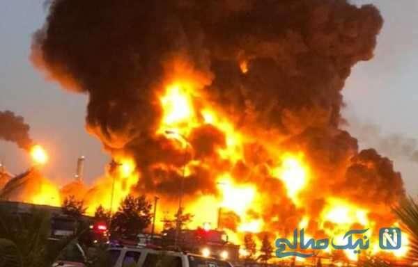 مهار کردن آتش پالایشگاه تهران با فوم پاشی بر روی شعله های آتش