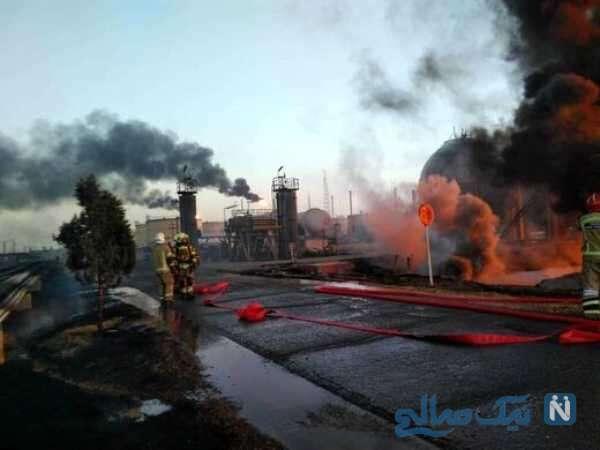 آتش سوزی در پالایشگاه نفت