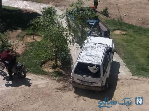 سقوط پراید از پل وحید اصفهان