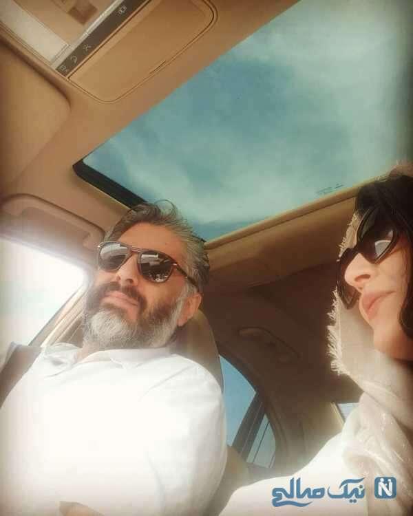 ساره بیات در کنار شوهرش