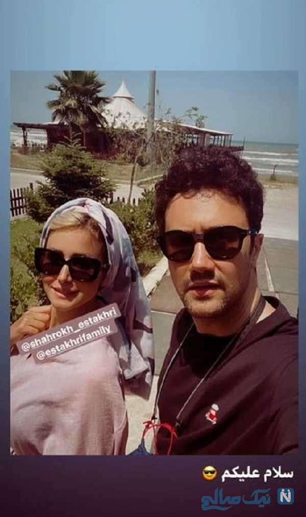 شاهرخ استخری و همسرش در سواحل دریای خزر