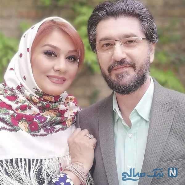 امیرحسین مدرس مجری تلویزیون و همسرش