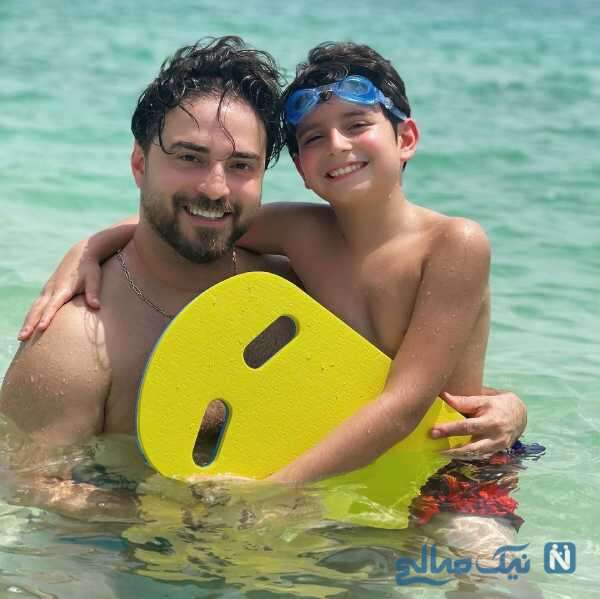 تفریحات آبی بابک جهانبخش و پسرش