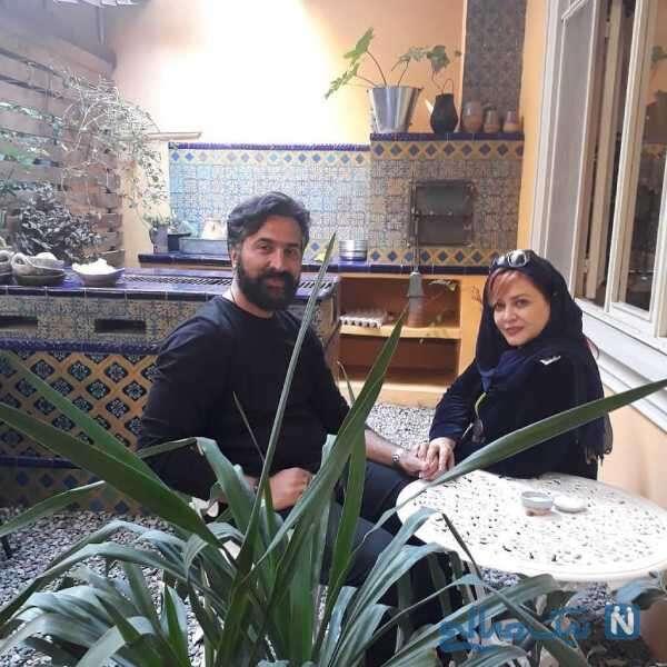 بهاره رهنما و همسرش در کافه سنتی