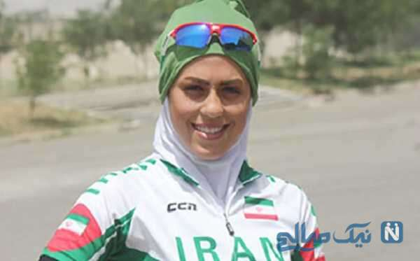 تصویری از آتوسا عباسی قهرمان دوچرخه سواری