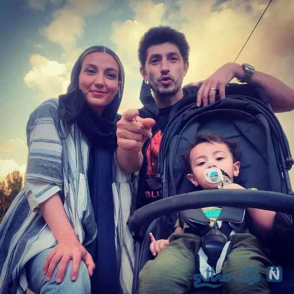 حدیث میرامینی در کنار همسر و پسرش برنا