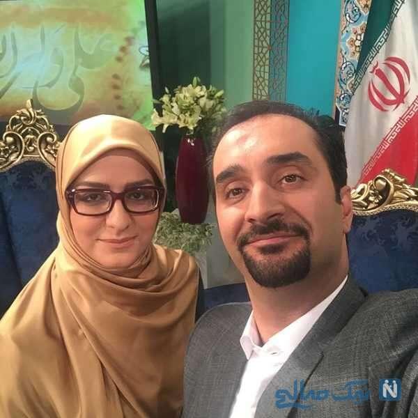 مجری تلویزیون کنار همسرش