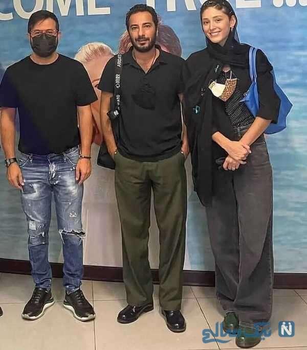 هومن سیدی در کنار نوید محمدزاده و همسرش