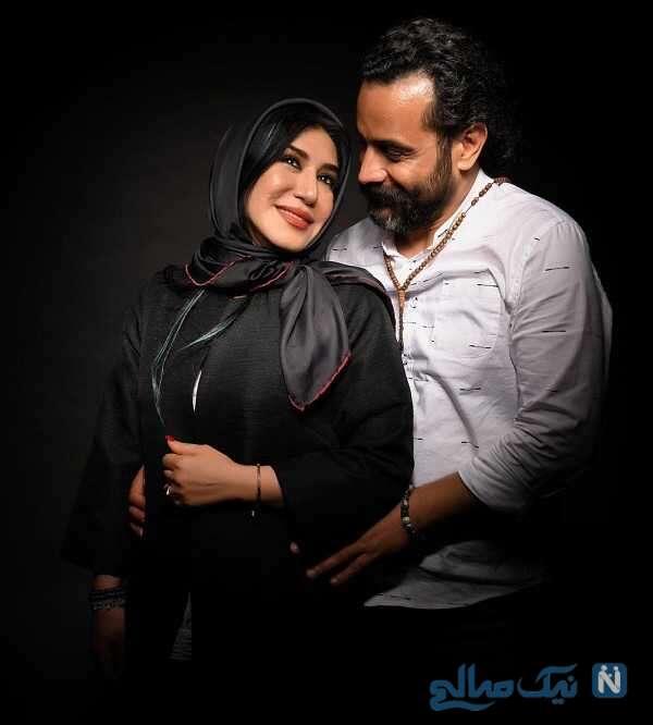 نسیم ادبی از بازیگران مشهور زن ایرانی در کنار همسرش