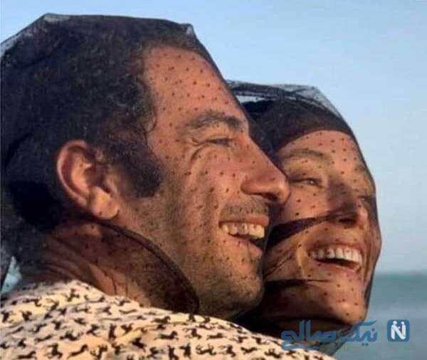 سلفی فرشته حسینی با همسرش