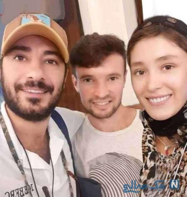 فرشته حسینی در کنار همسر و برادرش