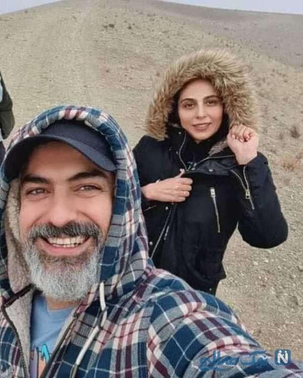 سلفی جالب مهدی پاکدل با همسرش