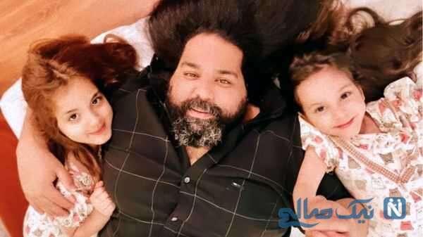سلفی جالب رضا صادقی با دخترانش