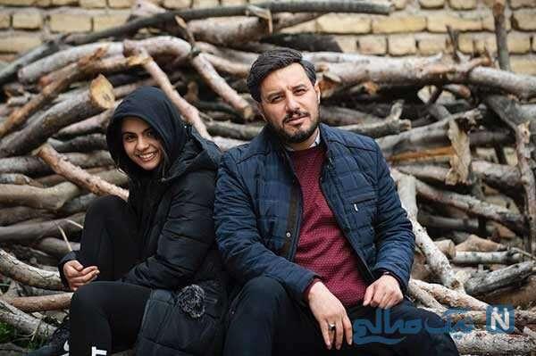 سارا حاتمی و جواد عزتی در پشت صحنه زخم کاری