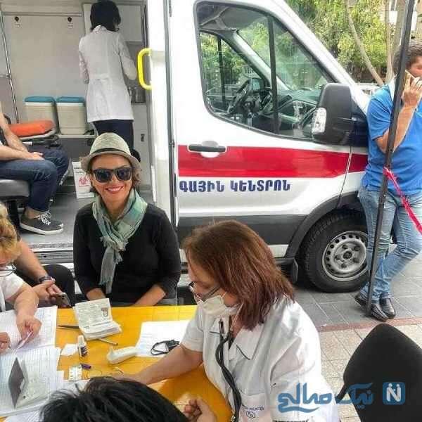 واکسن زدن شبنم فرشادجو در ارمنستان