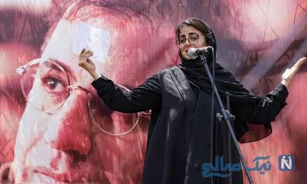 دختر علی سلیمانی در مراسم تشییع پدرش