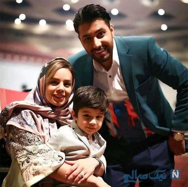 عکس احسان خواجه امیری با پسرش و همسرش