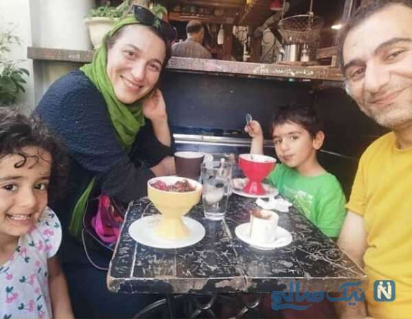 فلامک جنیدی در کنار همسر و دوقلوهایش