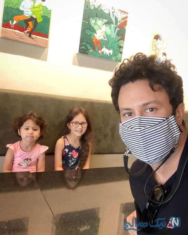 سلفی شاهرخ استخری با دخترانش