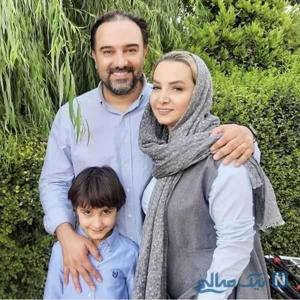 عکسهای برزو ارجمند و پسرش کنار همسرش