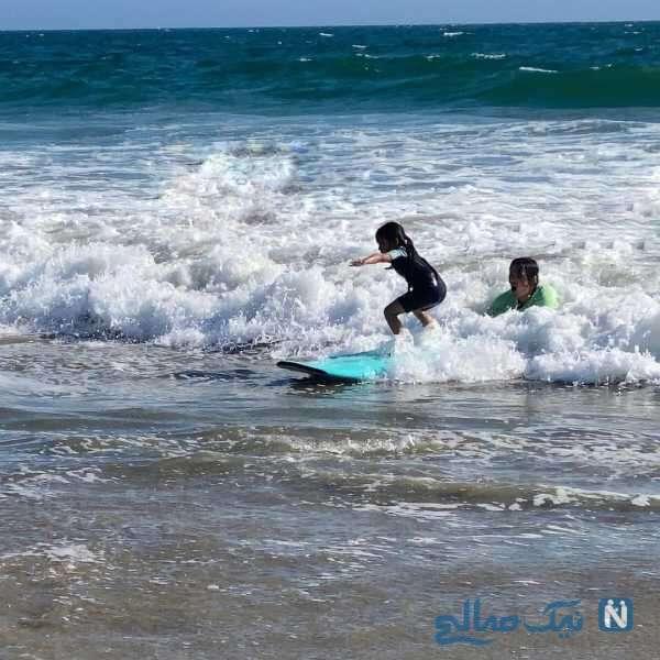 ورزش آبی دختر شادمهر عقیلی در دریا