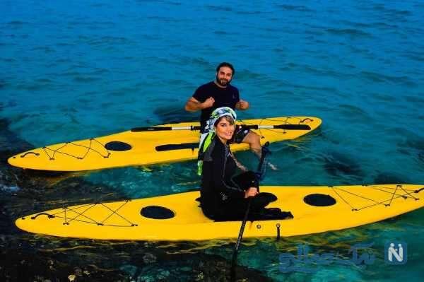 قایق سواری بابک جهانبخش و همسرش