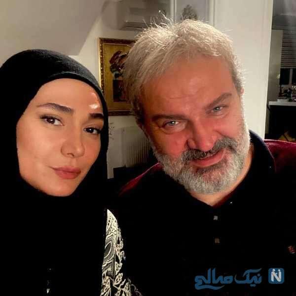 مهدی سلطانی و مینا وحید در پشت صحنه سریال افرا