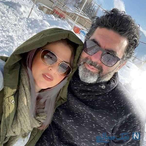 مصطفی کیایی کنار همسرش