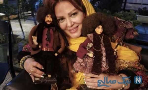 تصویری جالب از بهاره رهنما عروسک هایش
