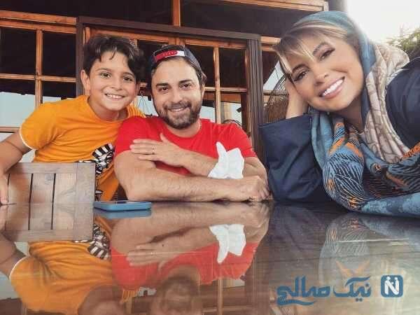 بابک جهانبخش کنار همسر و پسرش