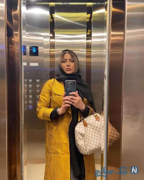 سلفی فریبا نادری در آسانسور