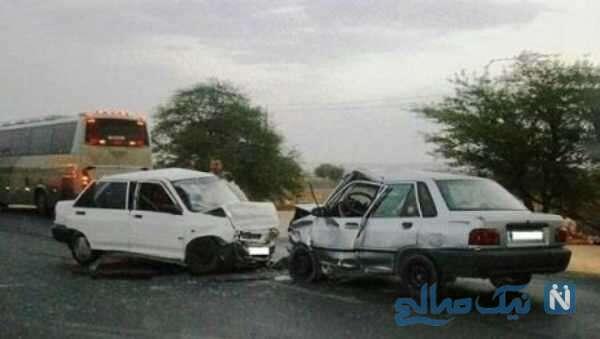 تصادف شاخ به شاخ دو خودروی سواری