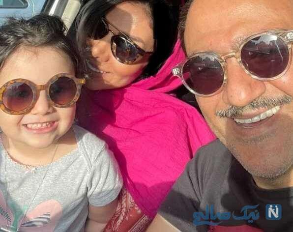 سلفی مهران غفوریان با زنش و دخترش در ماشین
