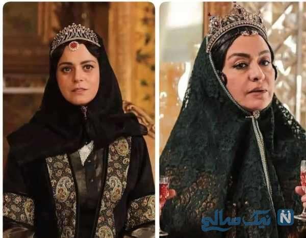 غزل شاکری و مریلا زارعی با گریم قاجاری