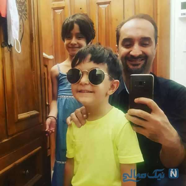 سلفی نیما کرمی با دختر و پسرش