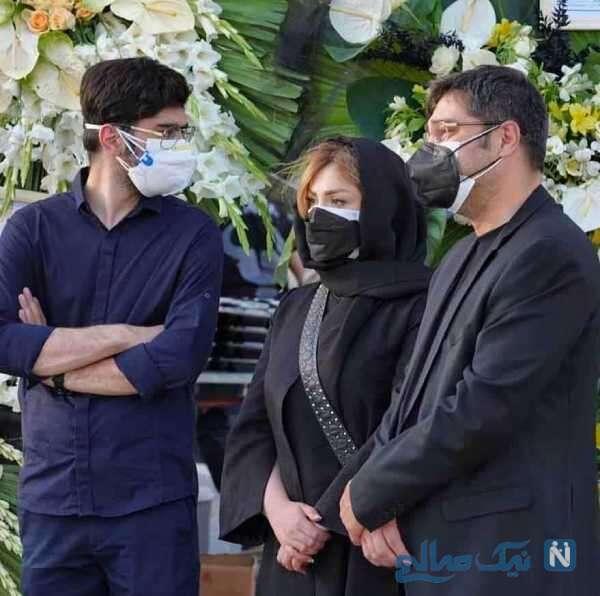 نیوشا ضیغمی و همسرش در مراسم ختم مادر شوهرش