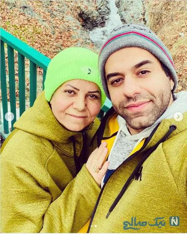 عکس سلفی رضا بهرام همراه مادرش