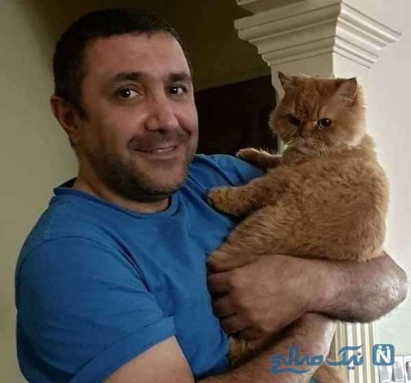 تصویری از رضا کریمی بازیگر سینما و گربه بامزه اش