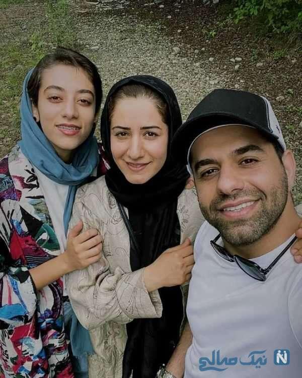 سلفی رضا بهرام با خواهرانش