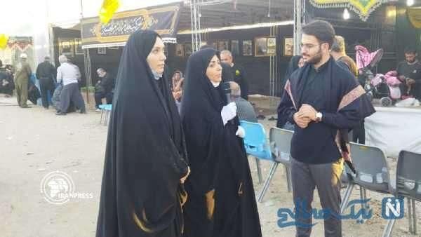 شهرزاد کمال زاده و نفیسه روشن بازیگر زن ایرانی در پیاده روی اربعین