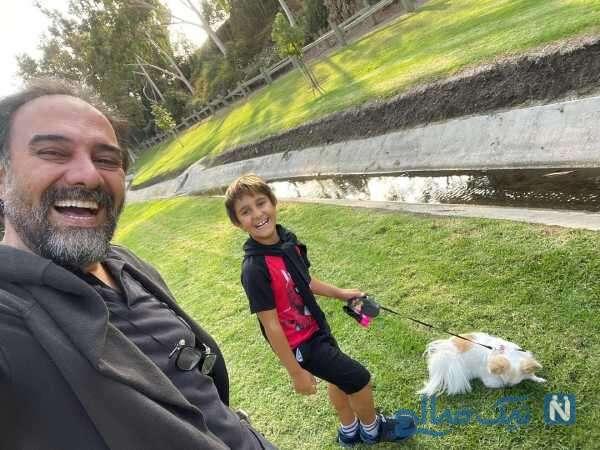 برزو ارجمند و پسرش در پارک