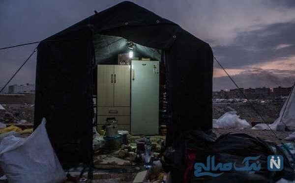 زندگی جوان تحصیل کرده به همراه همسرش در چادر مسافرتی