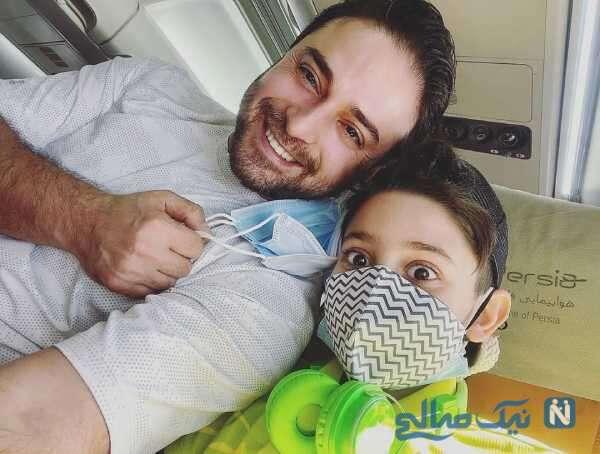 بابک جهانبخش و پسرش در هواپیما