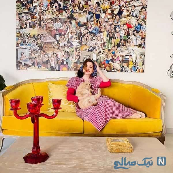 عکس از بهنوش طباطبایی در خانه اش