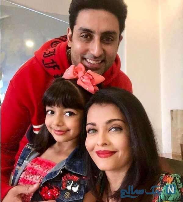 آیشواریا رای بازیگر هندی کنار همسر و دخترش